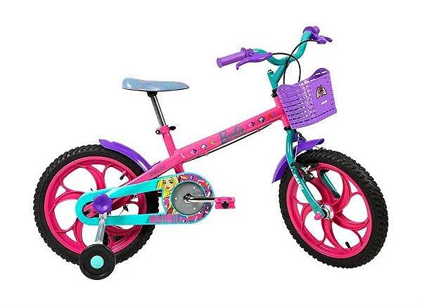 Bicicleta Infantil Aro 16 -  Caloi Barbie - Aço - Rosa