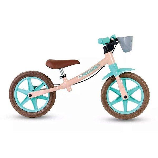 Bicicleta Balance Aro 12 - Nathor Love - Aço - Rosa Claro e Turquesa