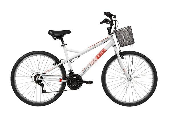 Bicicleta Aro 26 Feminina - Caloi Ventura - Aço - Branca - 21 Velocidades