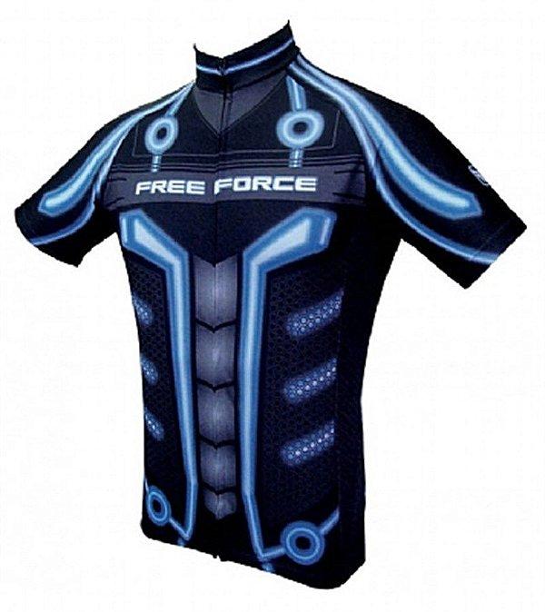 Camisa Free Force Future Manga Curta Masculina Azul