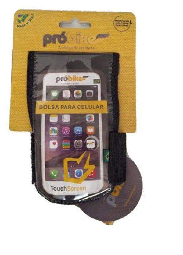 Bolsa de Celular P/Bicicleta - Probike Strava - Velcro - Preto