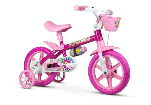 Bicicleta Infantil Aro 12 - Nathor Flowers - Aço - Rosa