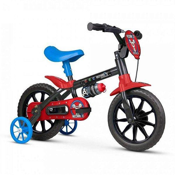 Bicicleta Infantil Aro 12 - Nathor Mechanic - Aço - Preta, Azul e Vermelho