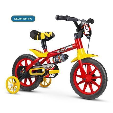 Bicicleta Infantil Aro 12 - Nathor Motor X - Aço - Vermelho, Preto e Amarelo
