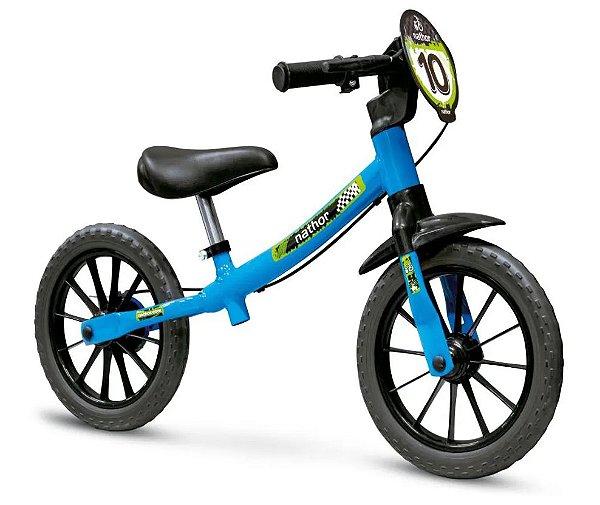 Bicicleta Balance Aro 12 - Nathor Pré-Bike - Aço - Azul e Preto