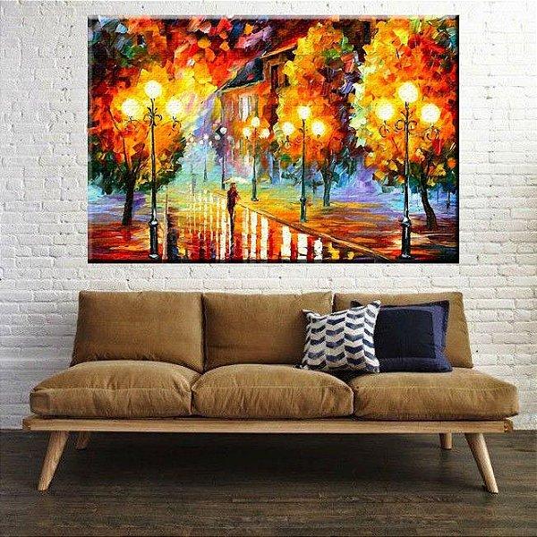 Quadro Pintura Bosque Abstrato Tela Decorativa