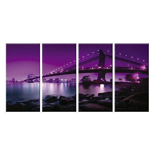 Quadro Panorâmico Manhattan Golden Gate NY 212x100cm   4 Telas de Tecido
