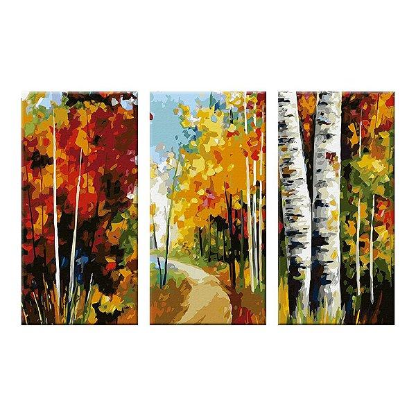 Quadro Estrada Colorida Pintura 3 Telas Decorativas