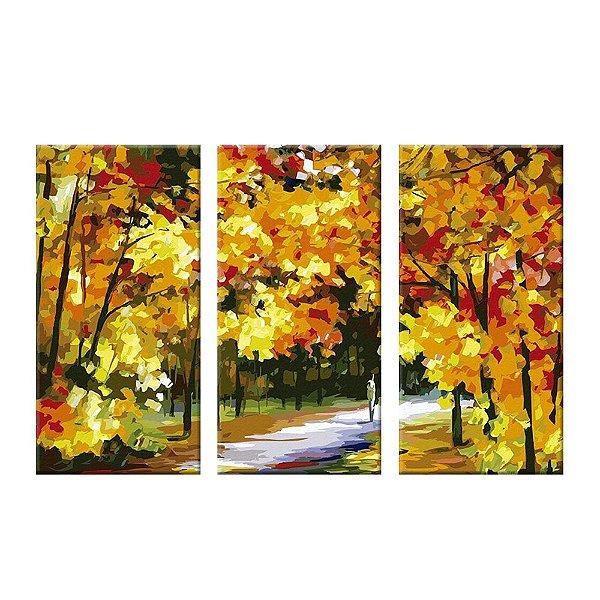 Quadro Bosque Floresta 3 Telas Decorativas