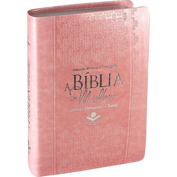A Bíblia Da Mulher - Almeida Revista E Corrigida - Capa Rosa Claro