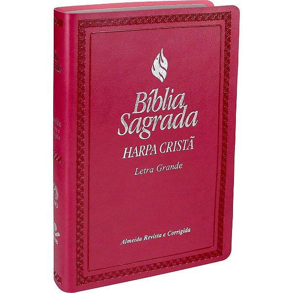 Bíblia Sagrada Com Harpa Cristã Letra Grande - Almeida Revista e Corrigida Rosa