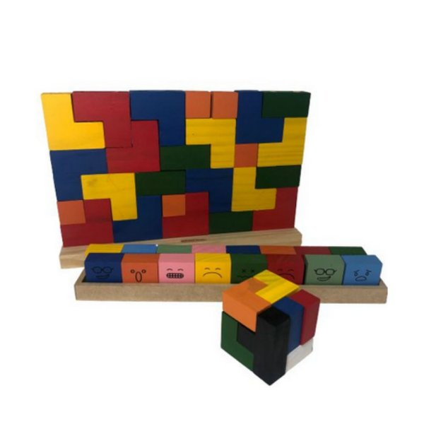 Kit Infantil- Tetris, Bandeirinhas e Cubo Colorido
