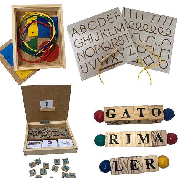 Kit Letras- 6 Jogos- Tabuleiro, Forme Palavras, 3 Jogos Letrinhas e Fio passante formas geométricas