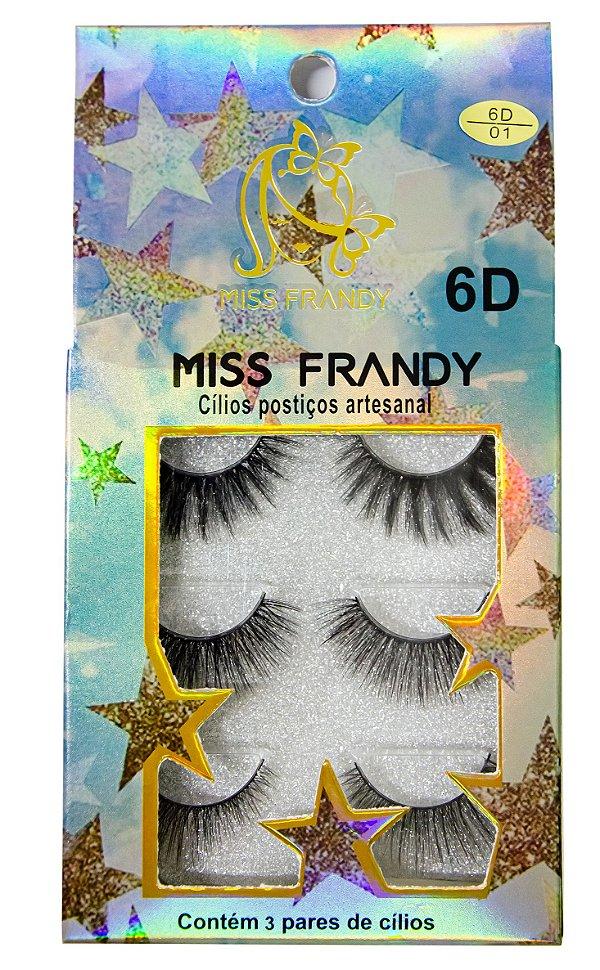 Cílios Postiços Artesanais 6D com 3 pares Miss Frandy