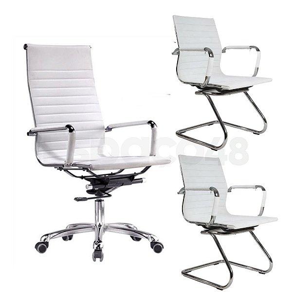 Kit Cadeiras de Escritório 1 Presidente Executiva + 2 Cadeiras Fixas