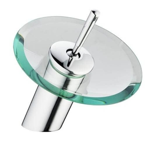 Torneira Banheiro Monocomando Cascata Vidro Redondo Baixa