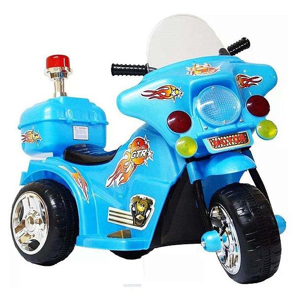 Mini Moto Elétrica Infantil 6v Bateria Luzes Som Azul