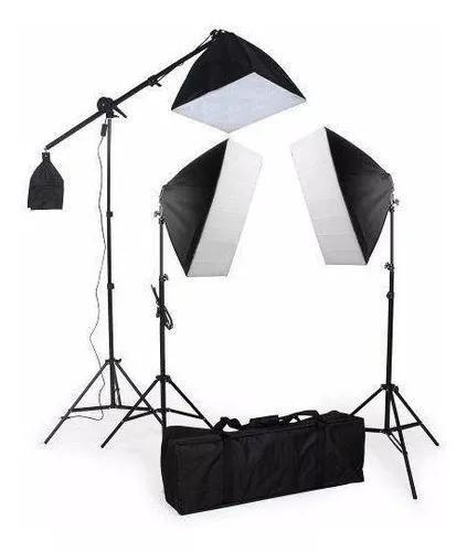 Kit Iluminação Estudio 2Softbox 50x70+1Softbox 40X40 Girafa