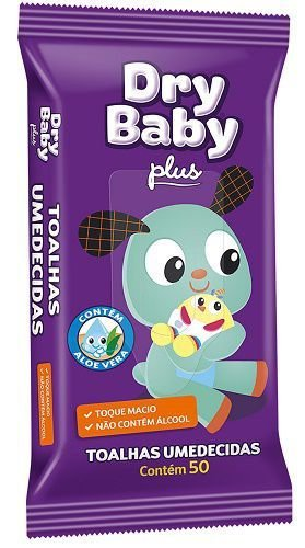 Toalha Umedecida Infantil Dry Baby c/ 50unidades Flowpack.