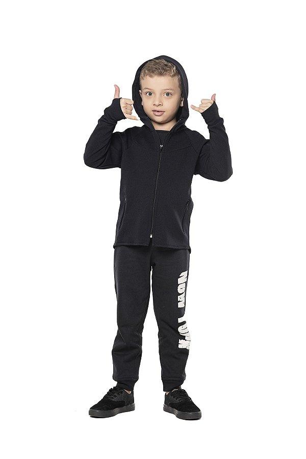 Jaqueta tamanho 4 a 16 Techno Stretch com ziper e capuz- COR PRETA