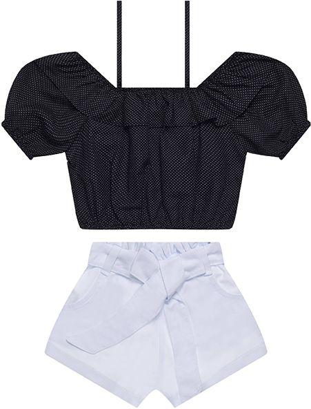 Conjunto tamanho 4 a 16 Cropped Poá em tecido plano com Babado e Short Clochard em sarja de algodão- COR PRETO e BRANCO