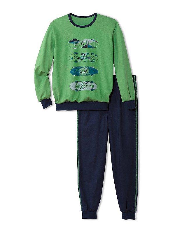 Pijama 100% algodao organico com punho- COR VERDE COM MARINHO