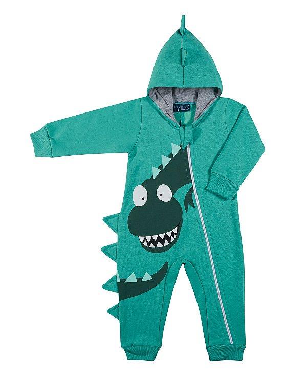 Pijama tamanho P ao 4 em moletom flanelado DINO com ziper e punhos- COR VERDE