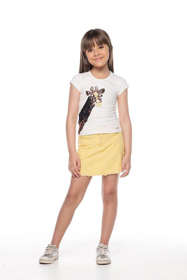 Blusa tamanho 4 ao 16 produzida em cotton de primeira qualidade, com bordado em paete- COR OFF WHITE