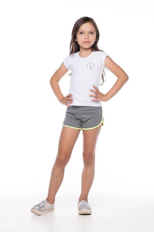Short tamanho 4 a 16 produzido em moletinho com elasticos na cintura e detalhe em cor NEON- COR CINZA MESCLA