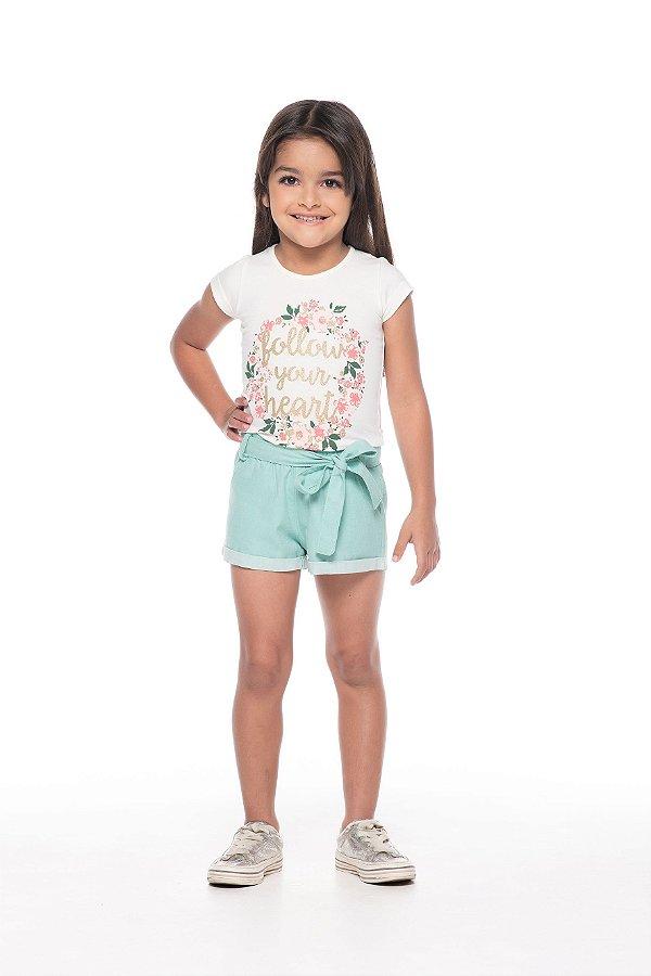 Conjunto tamanho 1 ao 3 em Cotton de primeira qualidade com short em tecido plano e amarracao na cintura- COR CRU COM VERDE