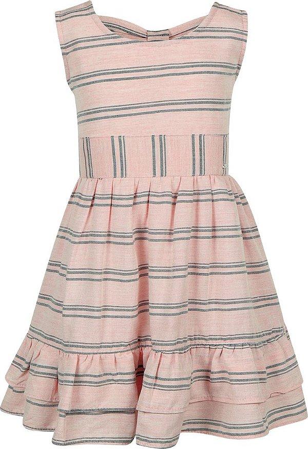 Vestido tamanho 4 ao 12 em tecido viscose com laco e elastico traseiro- COR ROSE