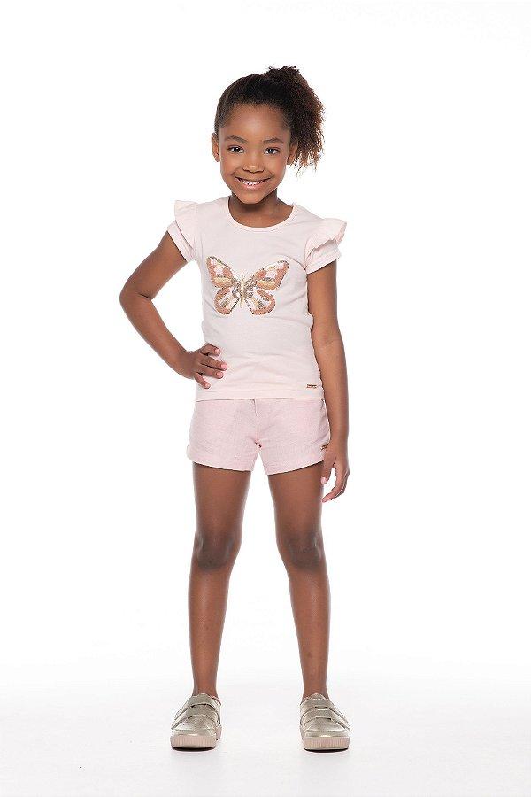 Conjunto tamanho 4 ao 10 em Cotton de primeira qualidade com short em tecido plano com botao e elastico- Bordado em Paete e Chenille- COR ROSE