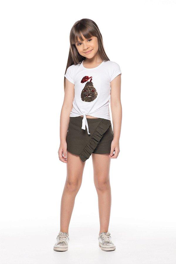 Blusinha tamanho 4 a 16 em cotton com PAETE reversivel- COR BRANCA