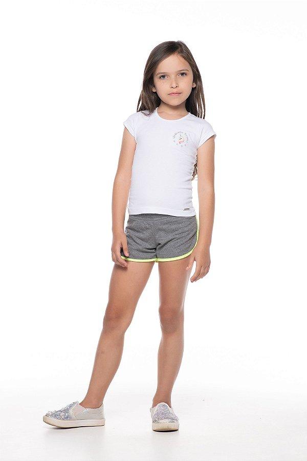 Blusinha tamanho 4 a 16 em cotton com bordado UNICORNIO - COR BRANCA
