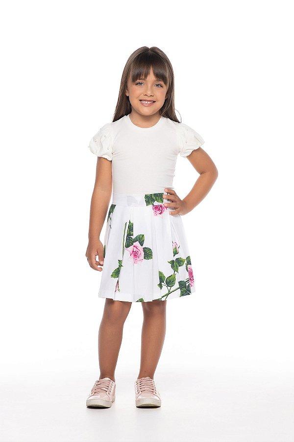 Blusa tamanho 4 a 16 produzida em cotton de primeira qualidade, com manga bufante, e perolas nas mangas- COR OFF-WHITE
