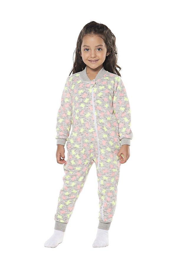 Pijama tamanho 4 a 16 em tecido SOFT flanelado com ZIPER.  Com punhos na perna e nas mangas- COR CINZA MESCLA COM NEON
