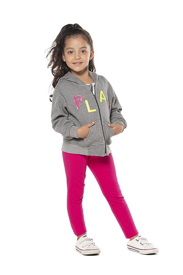 Conjunto tamanho 1 a 3 em moletom flanelado com calca legging flanelada - COR CINZA MESCLA COM PINK