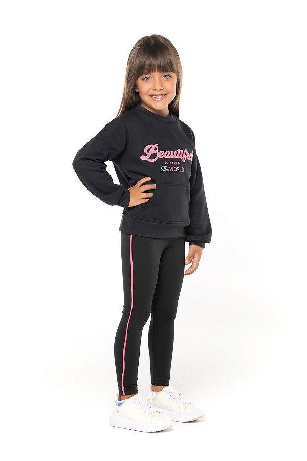 Conjunto tamanho 4 ao 16 em moletom flanelado com calca legging flanelada: COR PRETO