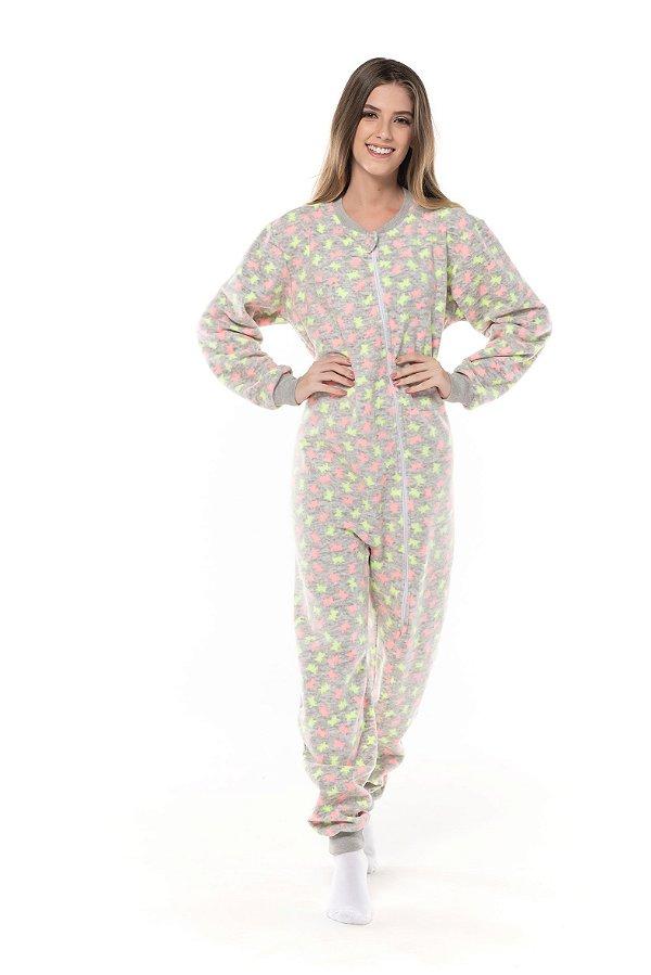 Pijama ADULTO em tecido SOFT flanelado com ZIPER.  Com punhos na perna e nas mangas- ADULTO