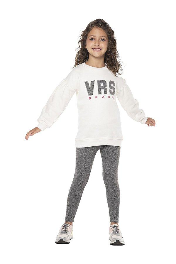 Conjunto tamanho 4 ao 16 em moletom flanelado com calca legging flanelada- COR OFF WHITE