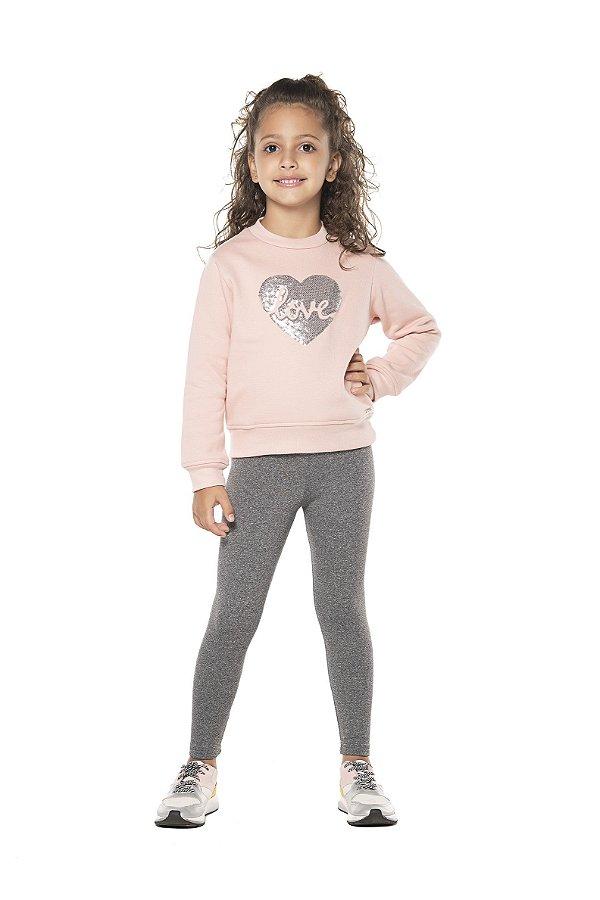 Conjunto tamanho 4 ao 16 em moletom flanelado com calca legging flanelada- COR ROSE