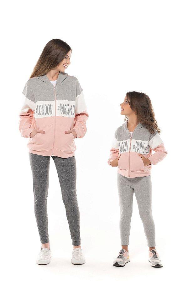 Conjunto ADULTO - P/M/G em moletom flanelado com calca legging flanelada- COR ROSE