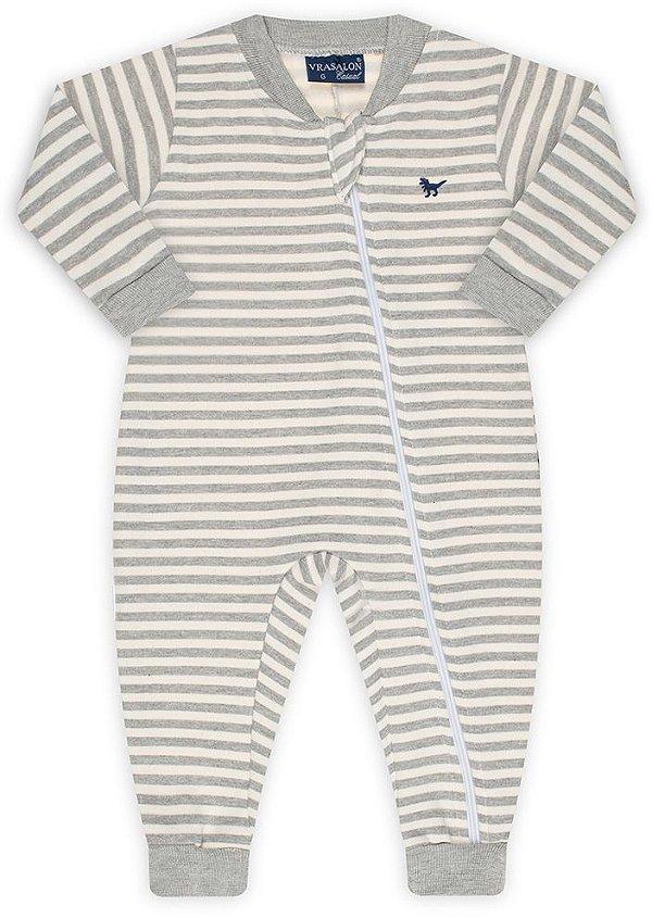 Pijama tamanho P ao 8 em moletom flanelado 3 cabos com ziper e punhos- COR LISTRADO