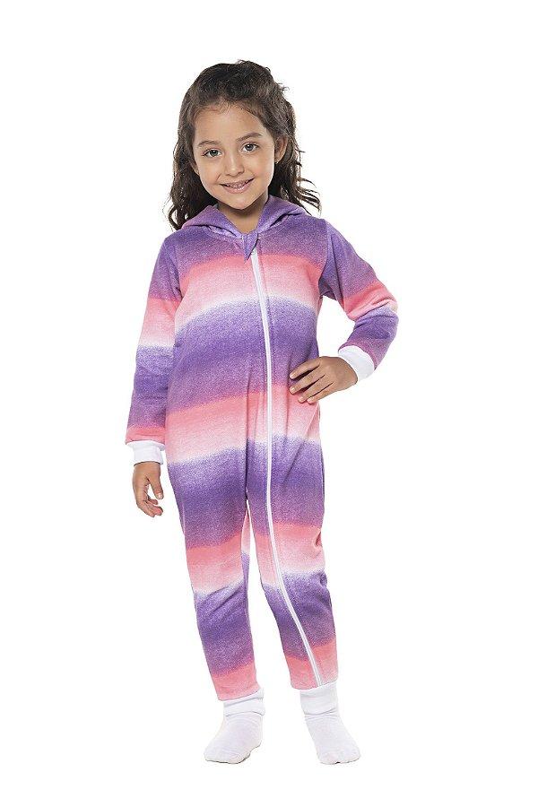 Pijama tamanho 2 ao 8 em moletom flanelado UNICORN com ziper e punhos- COR ROSA E LILAS EM DEGRADE