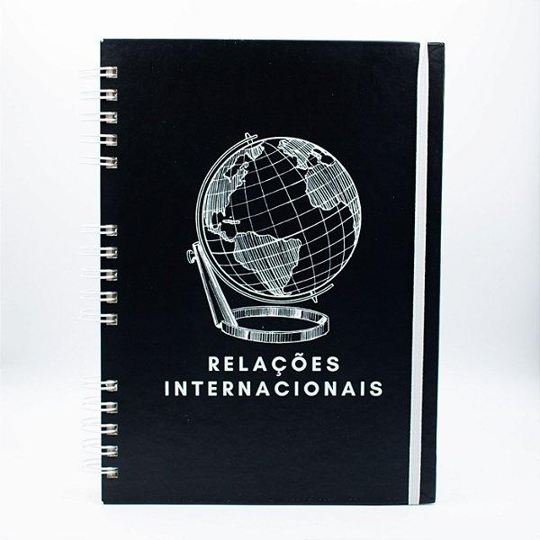Caderno Universitário Espiral - Capa Preta Profissão Relações Internacionais