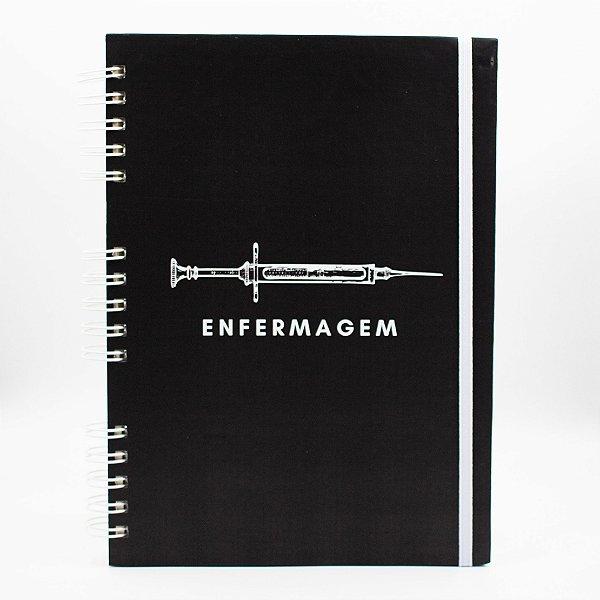 Caderno Universitário - Capa Preta Profissão Enfermagem