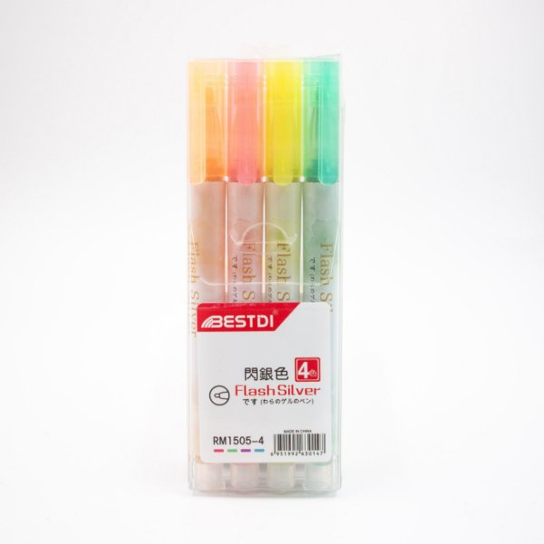 Marcador de Texto com Glitter  c/4 Flash Silver