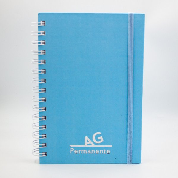 Agenda Permanente Espiral  Cores Pastéis -  Capa Lisa/ Capa Dura-Azul
