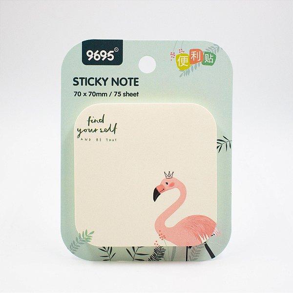 Bloco de Anotação  com  Cola  c/ 75 folhas  Flamingo/ verde