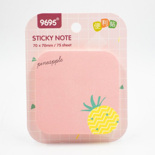 Bloco de Anotação  com  Cola  c/ 75 folhas  Abacaxi/ rosa pineapple